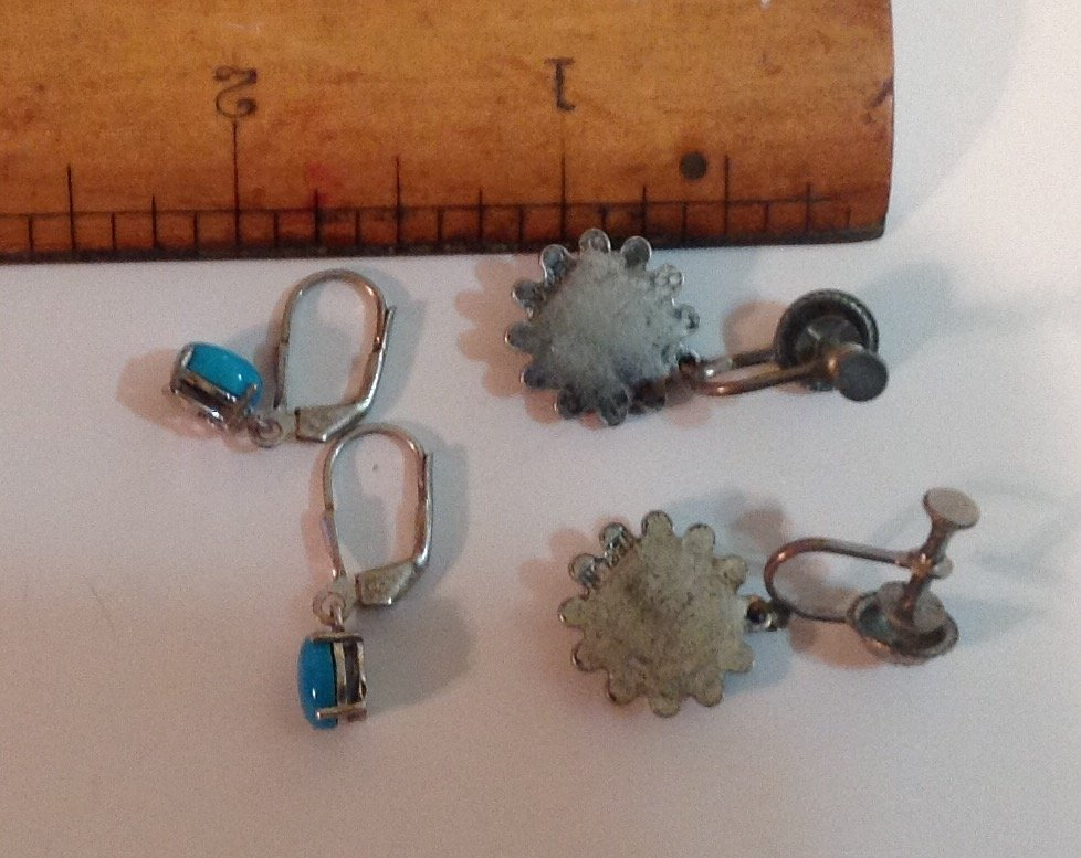 estate native American silver turquoise earrings (S) - 2