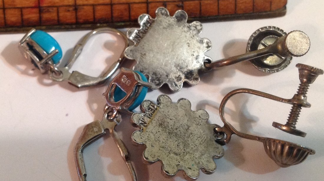 estate native American silver turquoise earrings (S) - 3
