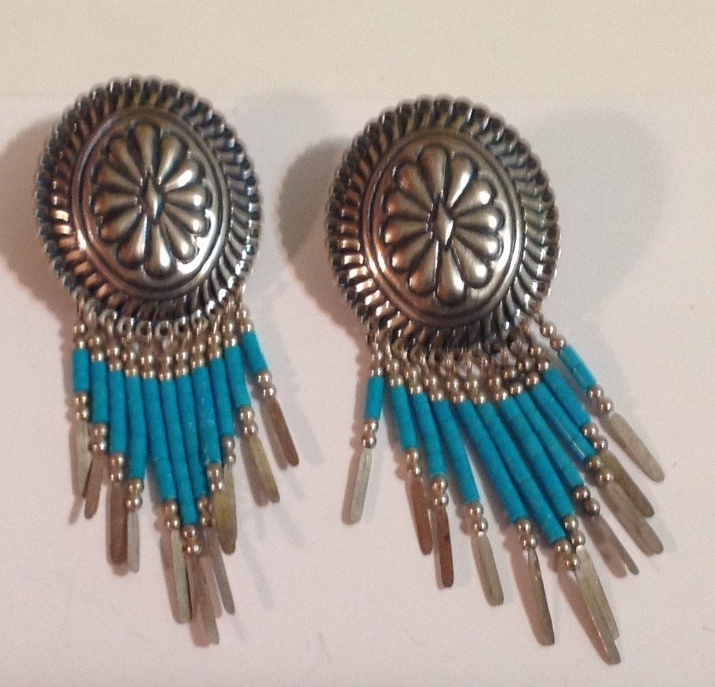 estate Native American Sterling concho earrings (S)