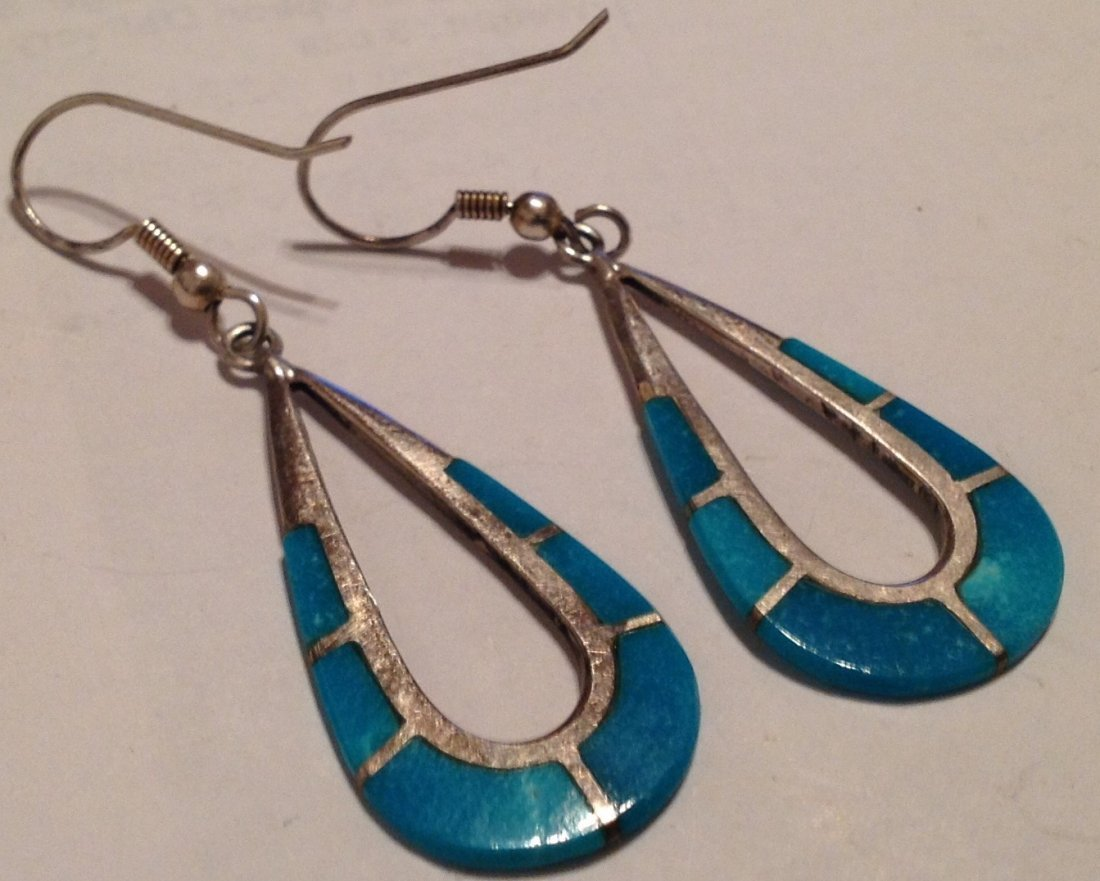 estate Native Sterling Turquoise earrings (S) - 2