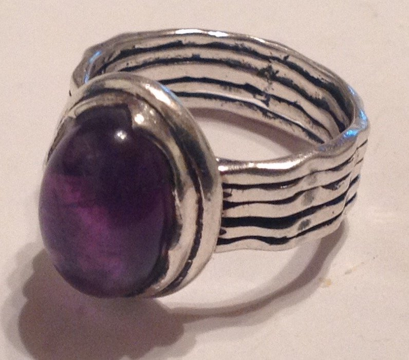 estate vintage Sterling silver gemstone ring (S)