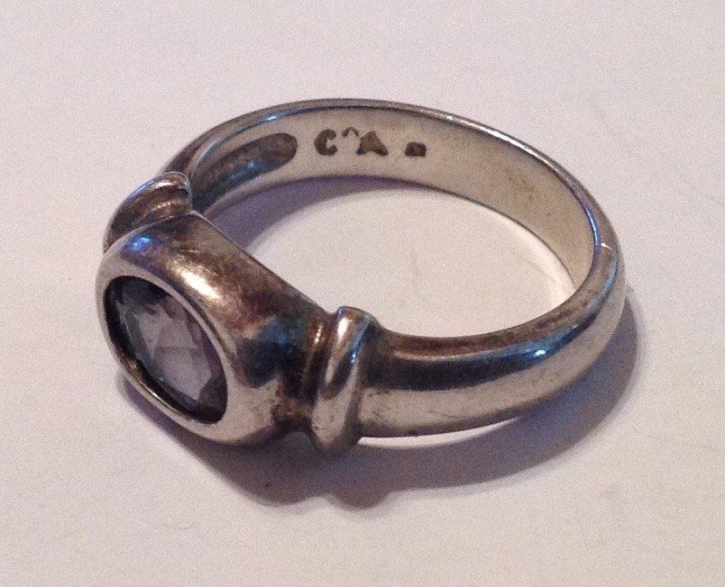 Estate vintage Sterling silver gemstone ring (S)