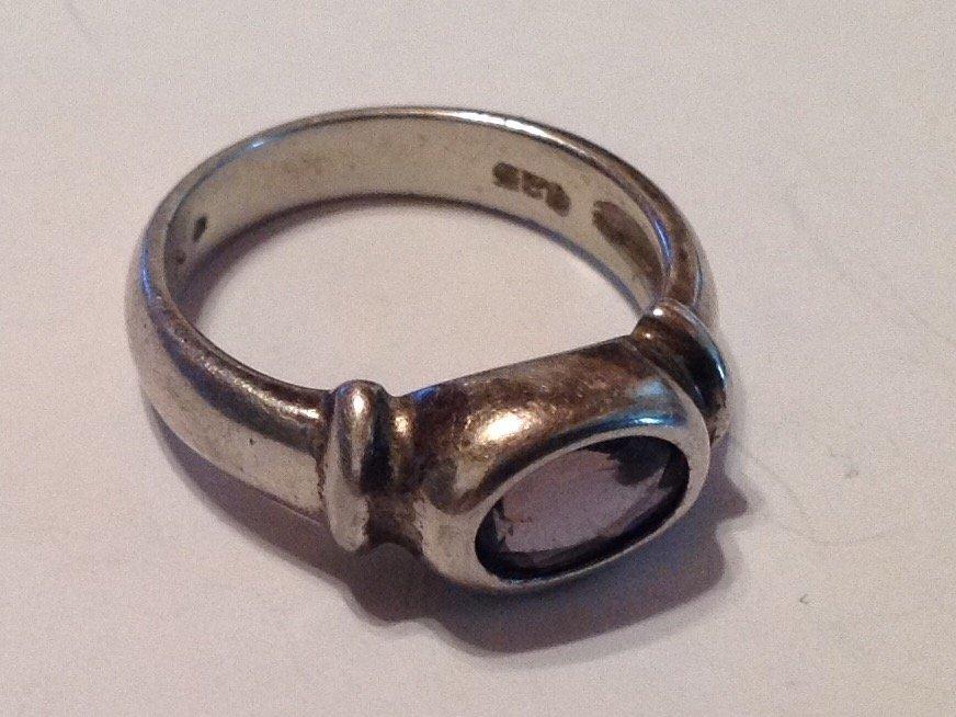 Estate vintage Sterling silver gemstone ring (S) - 2