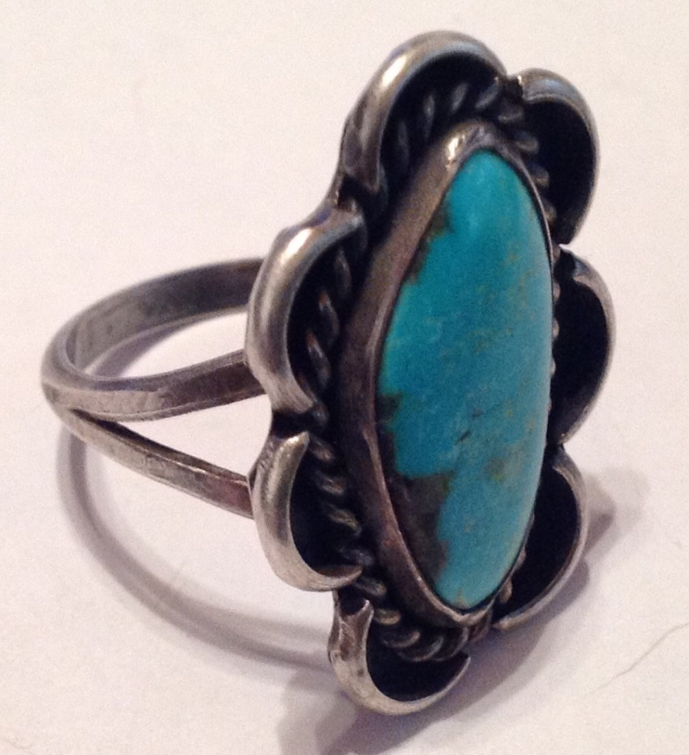 Estate native American Sterling turquoise ring (S) - 2