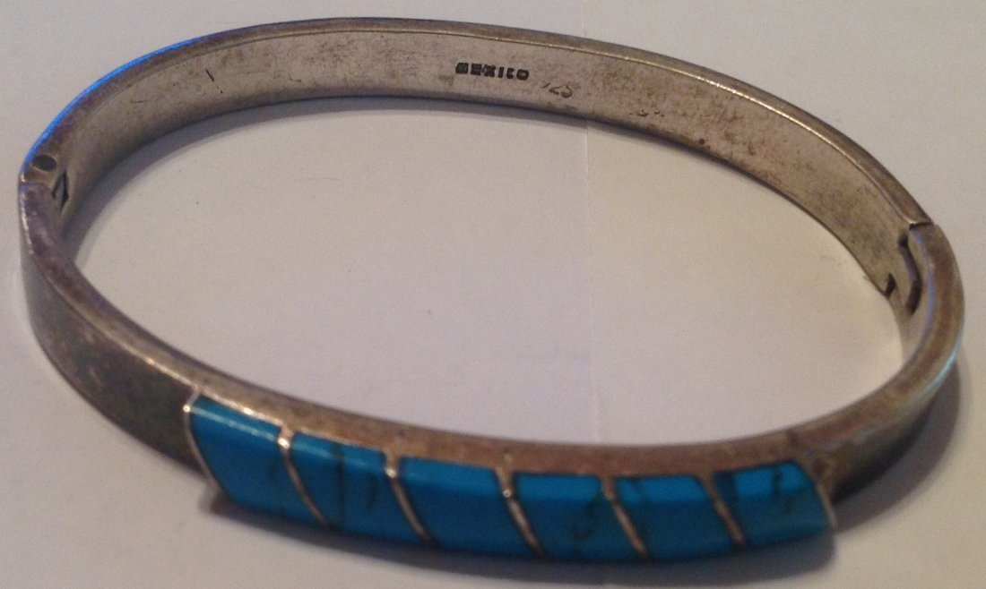 Estate vtg. Mexico Sterling turquoise bracelet (S)