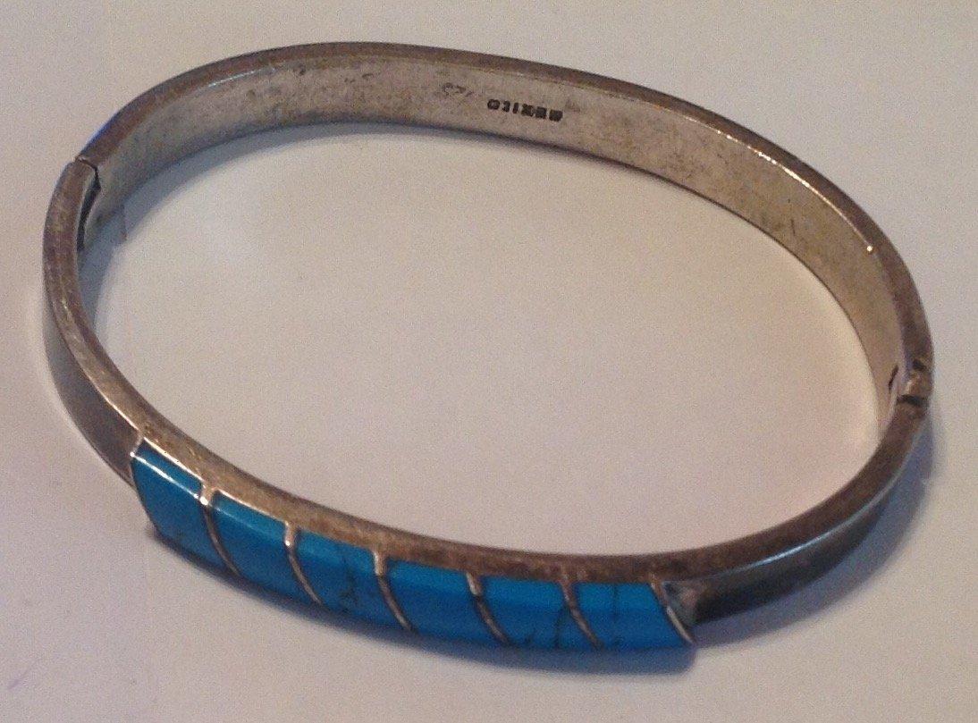 Estate vtg. Mexico Sterling turquoise bracelet (S) - 2