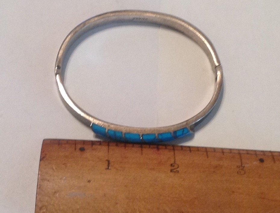 Estate vtg. Mexico Sterling turquoise bracelet (S) - 4