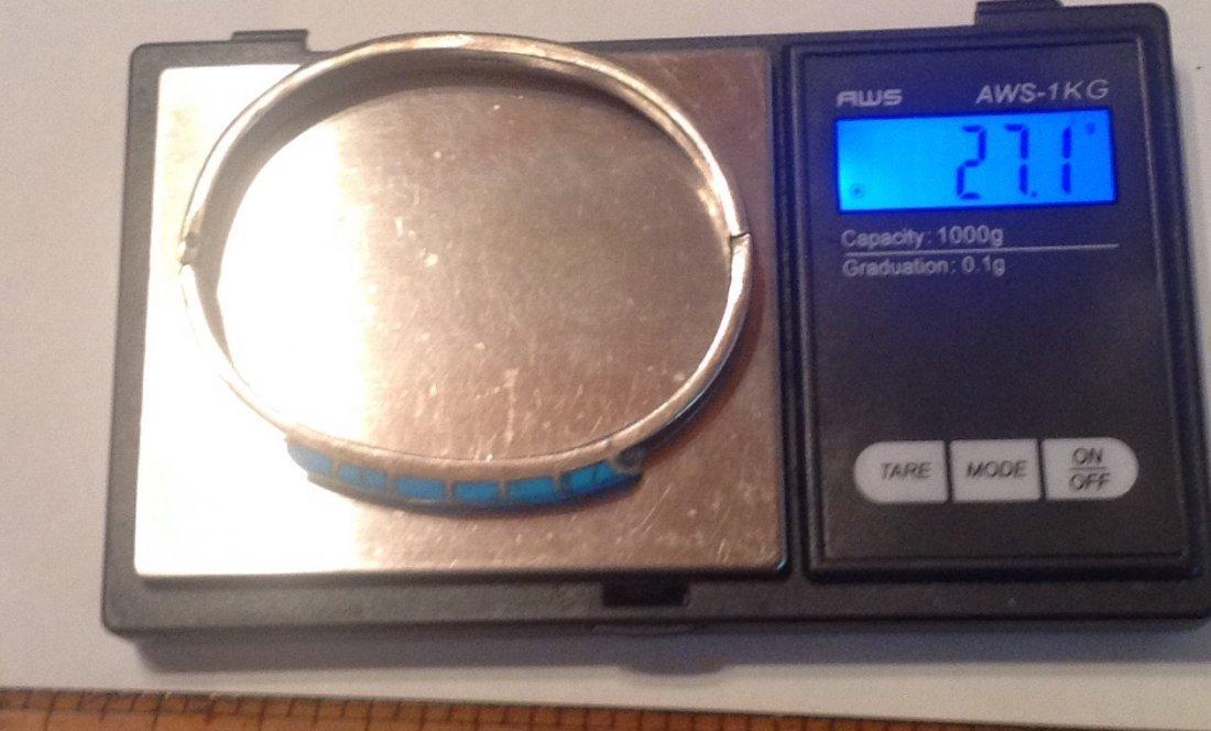 Estate vtg. Mexico Sterling turquoise bracelet (S) - 5
