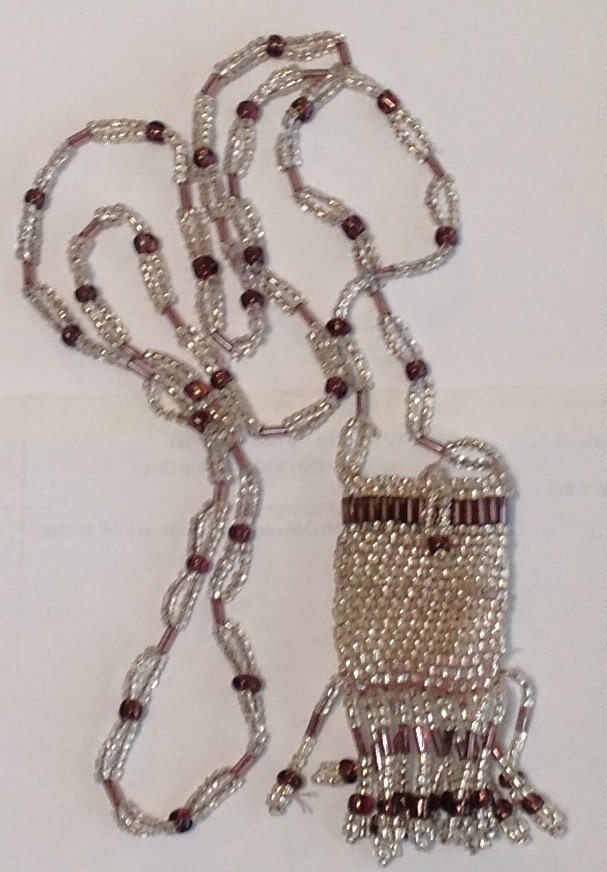 Estate Antique mini beaded pocket pouch necklace  (S)