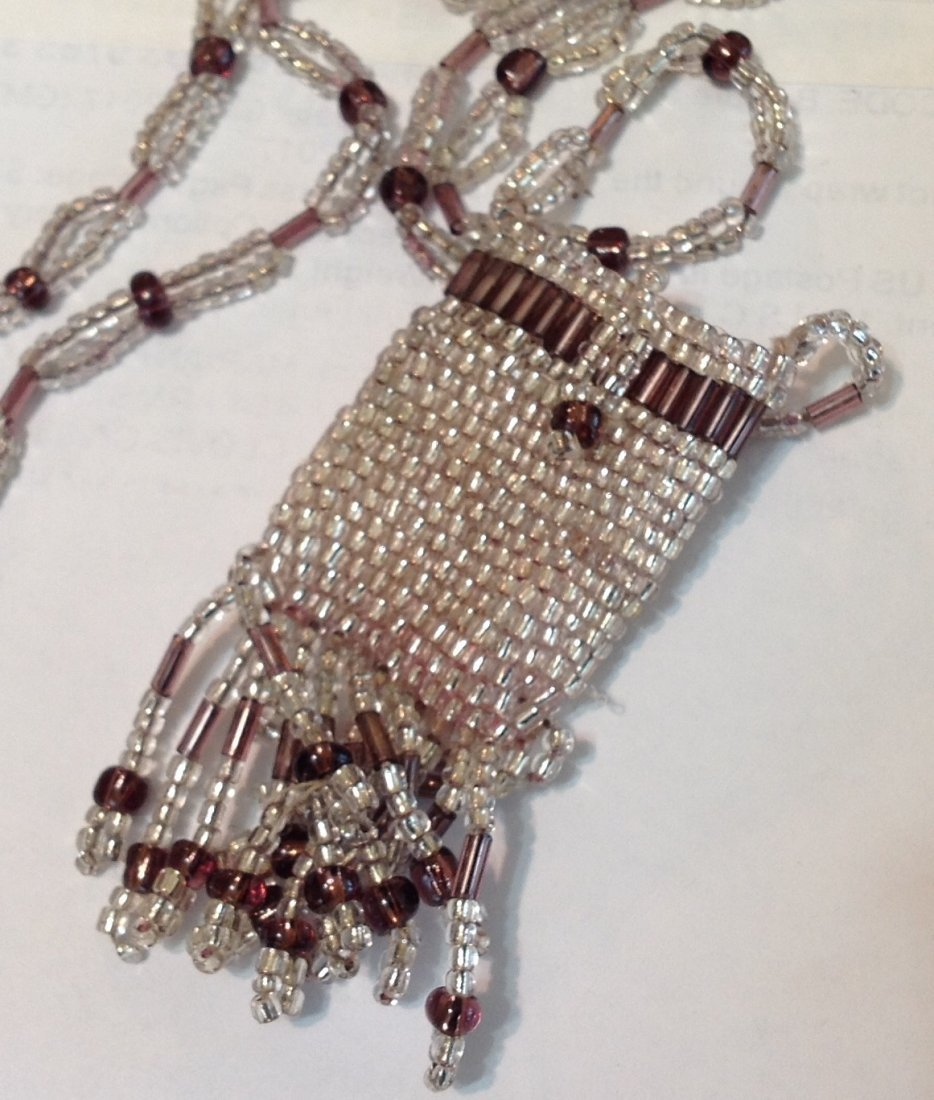 Estate Antique mini beaded pocket pouch necklace  (S) - 3