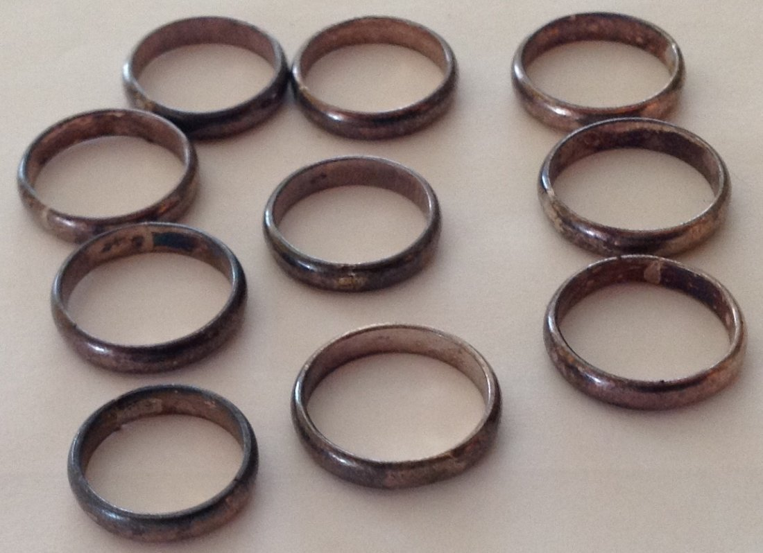 Estate lot of 10 Sterling silver wedding bands ( T )