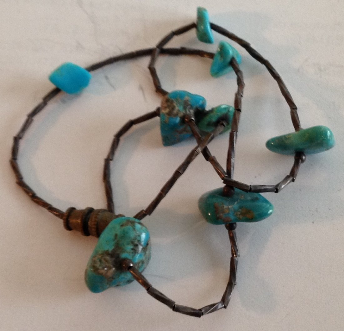 Estate Native old pawn Sterling Turquoise choker (T) - 3