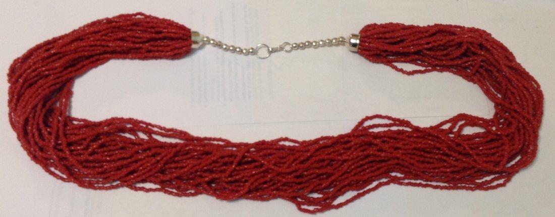 Estate Native multi strand coral necklace  (T)
