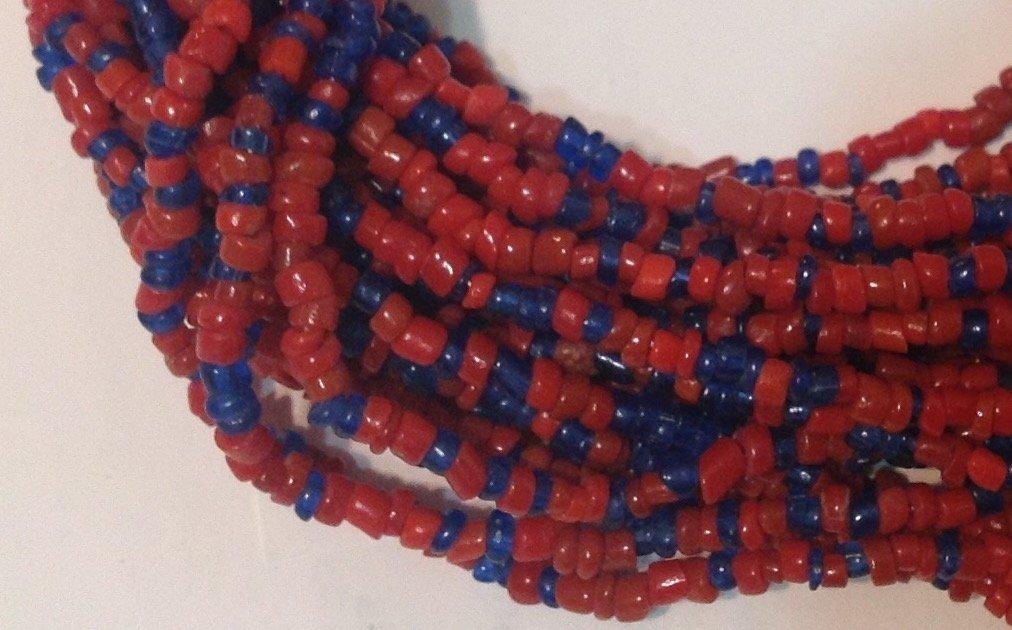 Estate Native multi strand lapis coral necklace  (T) - 3