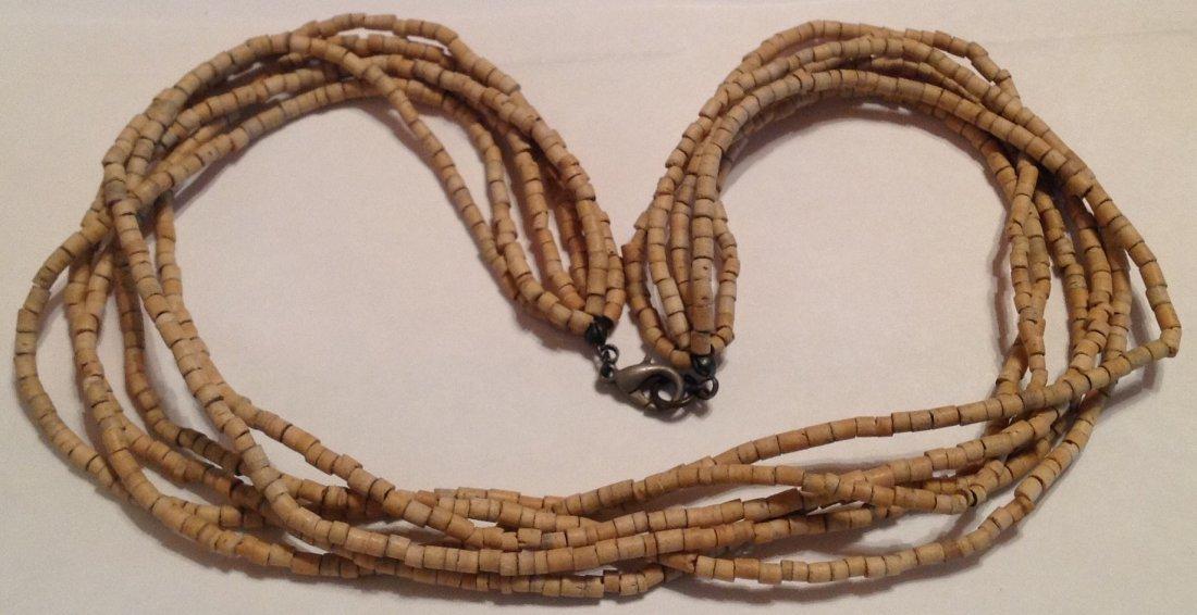 Estate vintage Native American wood heishi necklace (T)