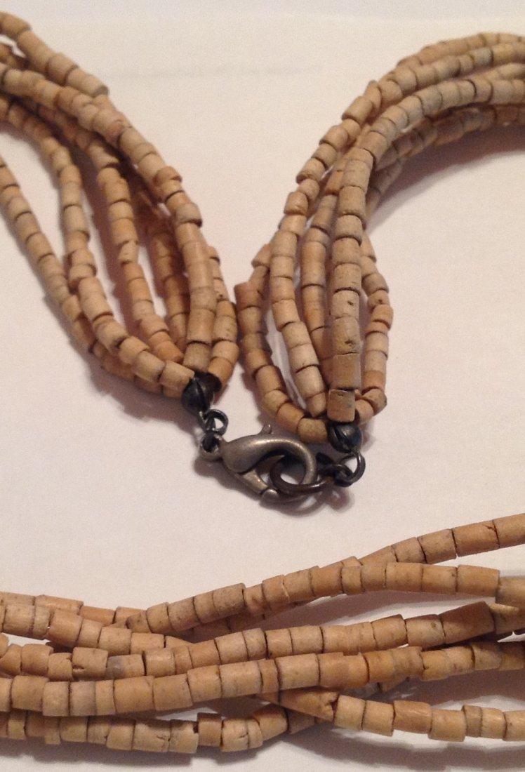 Estate vintage Native American wood heishi necklace (T) - 2