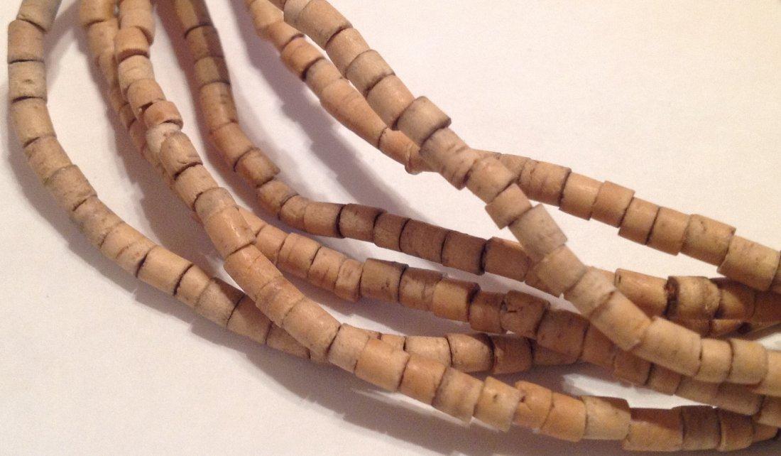 Estate vintage Native American wood heishi necklace (T) - 3