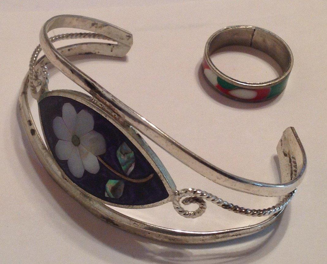 Estate vintage mexico bracelet & enamel ring (T)