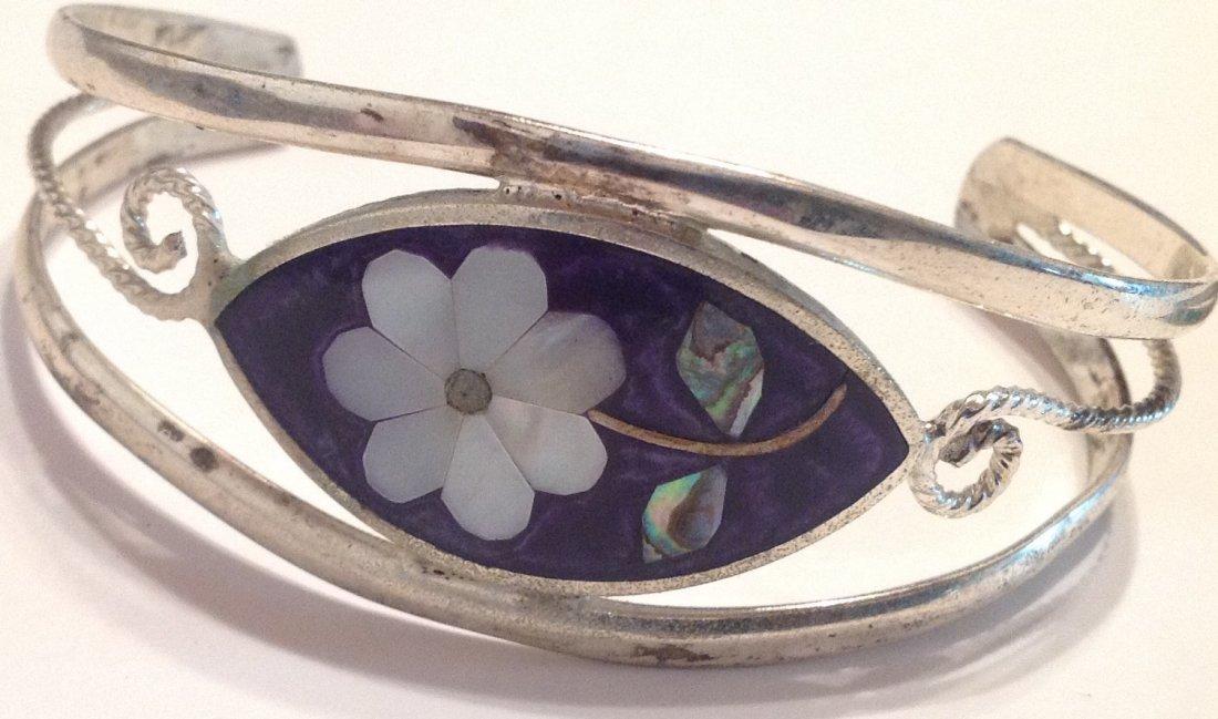 Estate vintage mexico bracelet & enamel ring (T) - 2