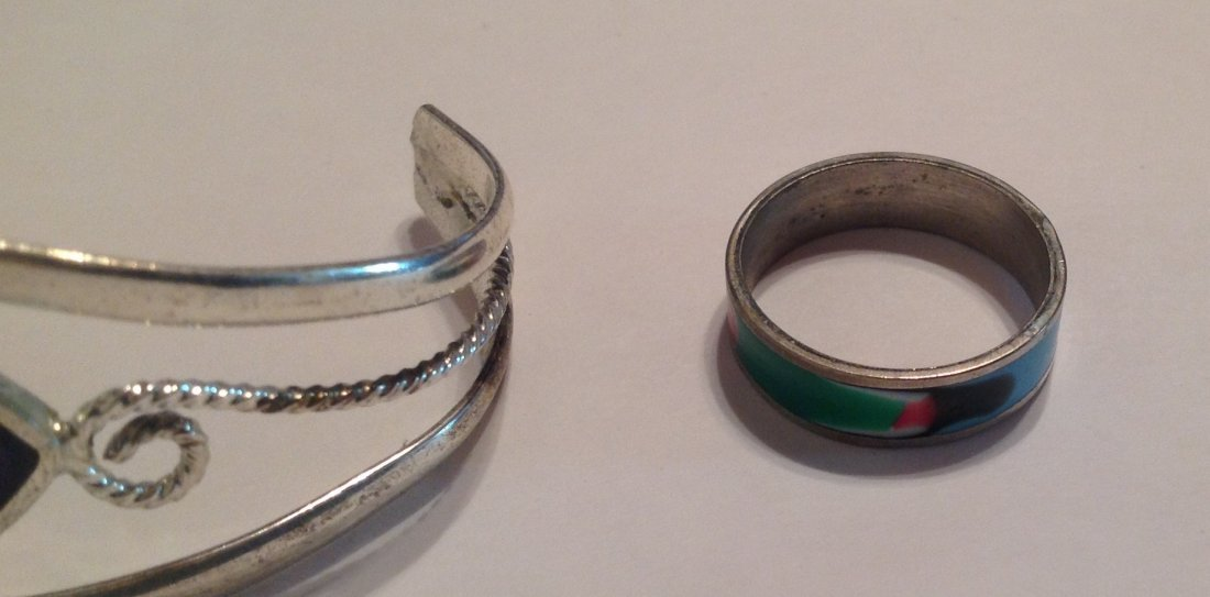 Estate vintage mexico bracelet & enamel ring (T) - 3