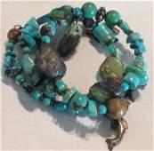 Estate Native turquoise coil arm charm bracelet (S)