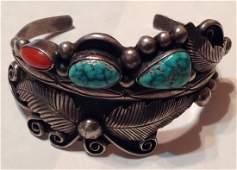Navajo Phil Chapo Sterling turquoise coral bracelet (S)