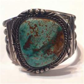 Huge old pawn Sterling turquoise cuff bracelet (S)