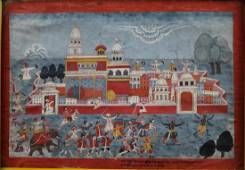 Defending the Town of Mathura (Indian Painting)