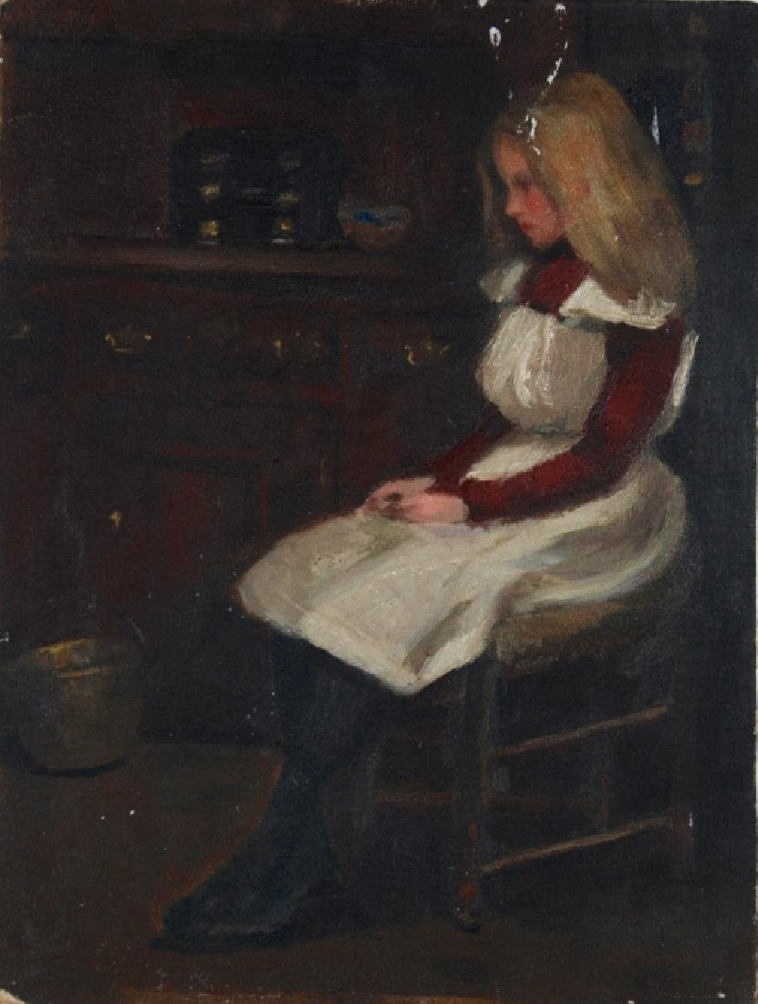 Young Girl Seated in chair, Copper bucket on Floor