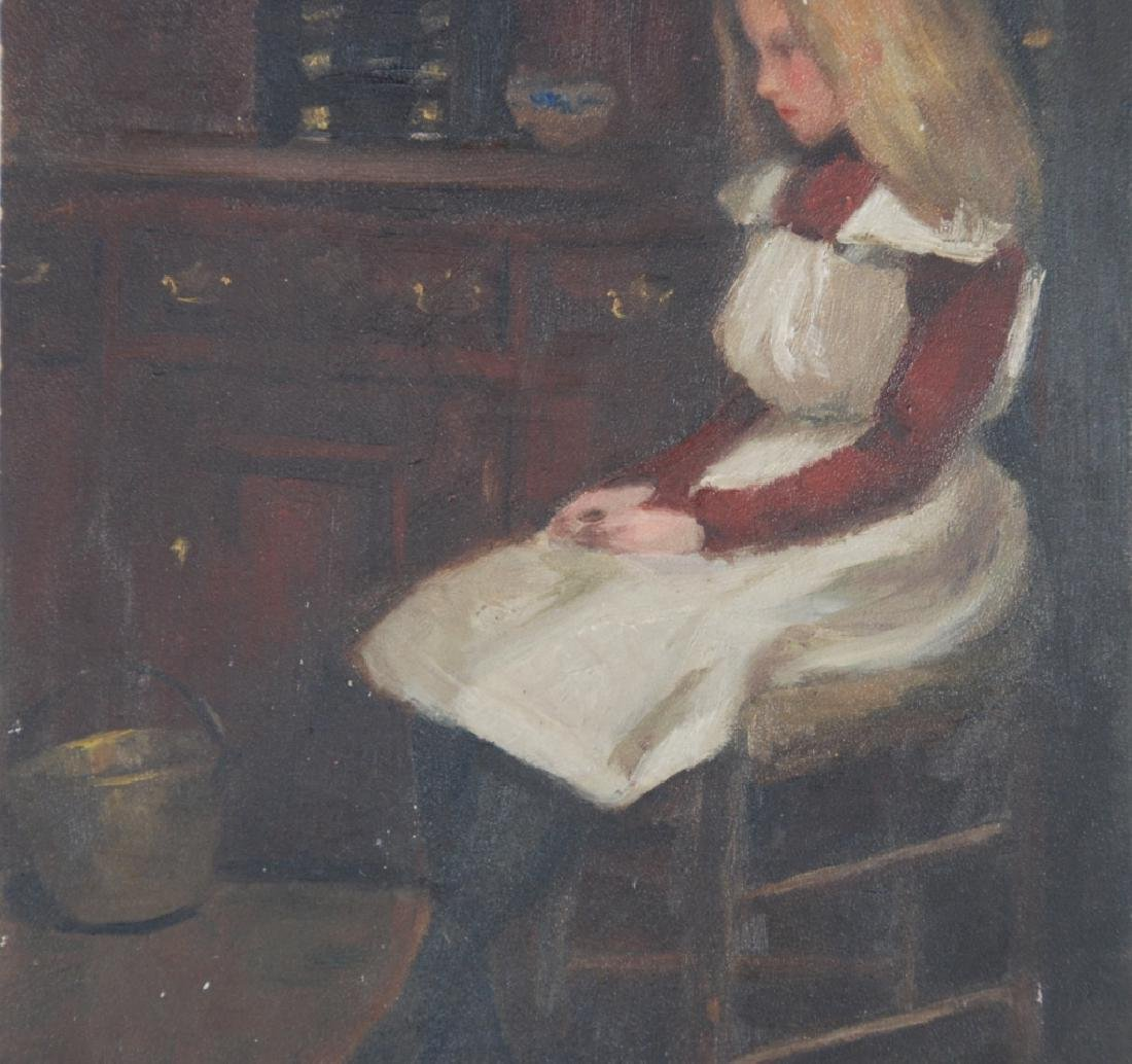 Young Girl Seated in chair, Copper bucket on Floor - 2
