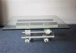 Modern glass top table, acrylic solid stacked tube