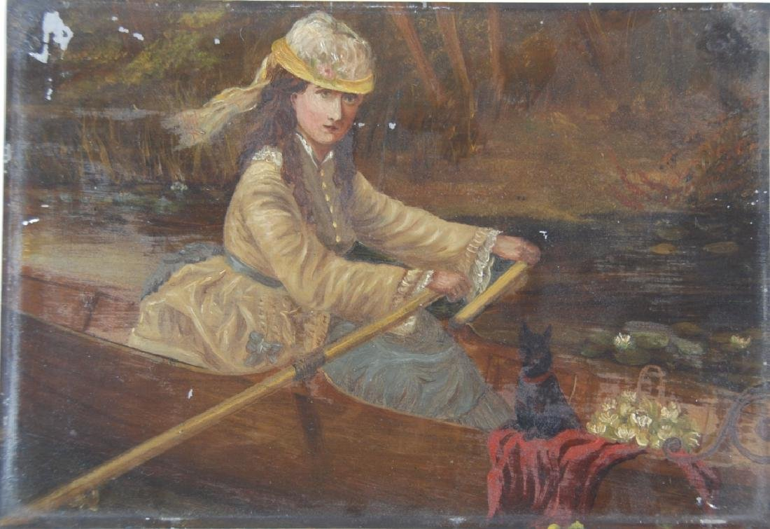 Woman, rowing with her dog and flower basket. - 2