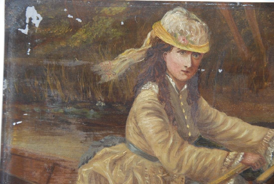 Woman, rowing with her dog and flower basket. - 5