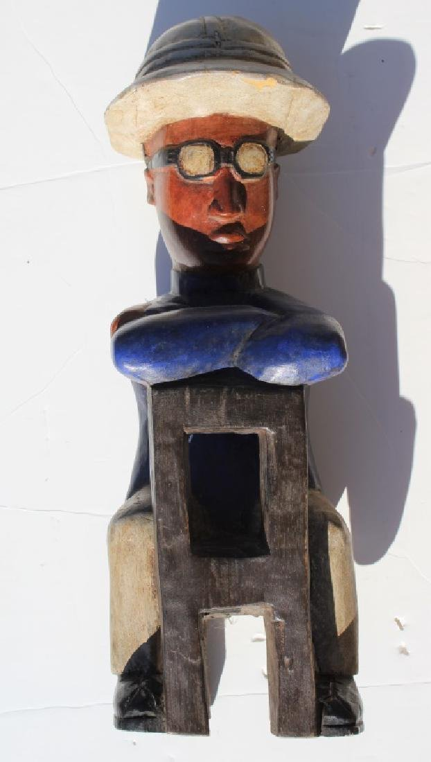 Pair of African made wood dolls - 2