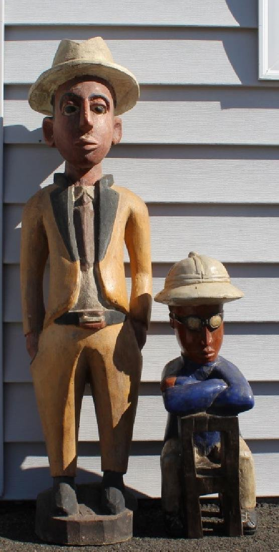 Pair of African made wood dolls - 4