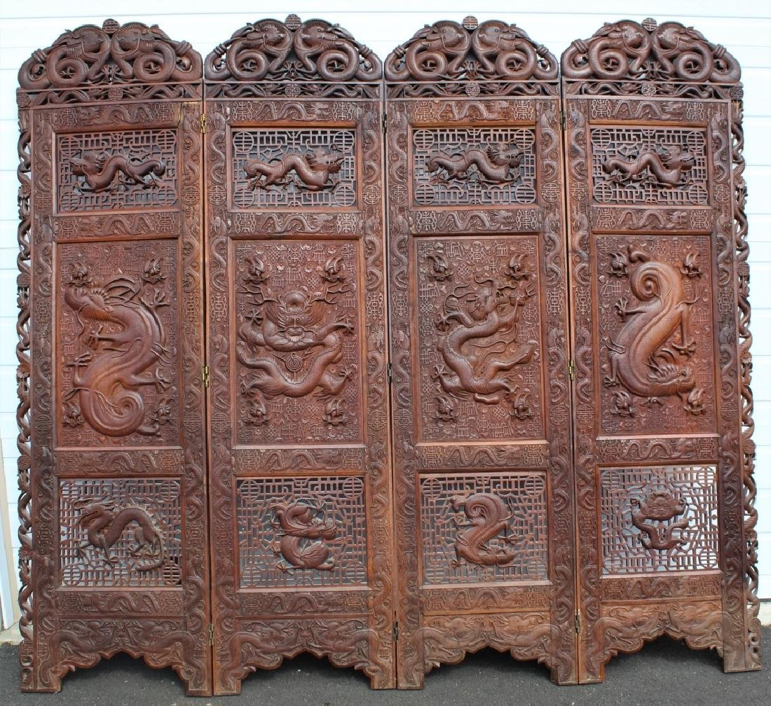 Early 1900 Chinese Wooden Screen - 3