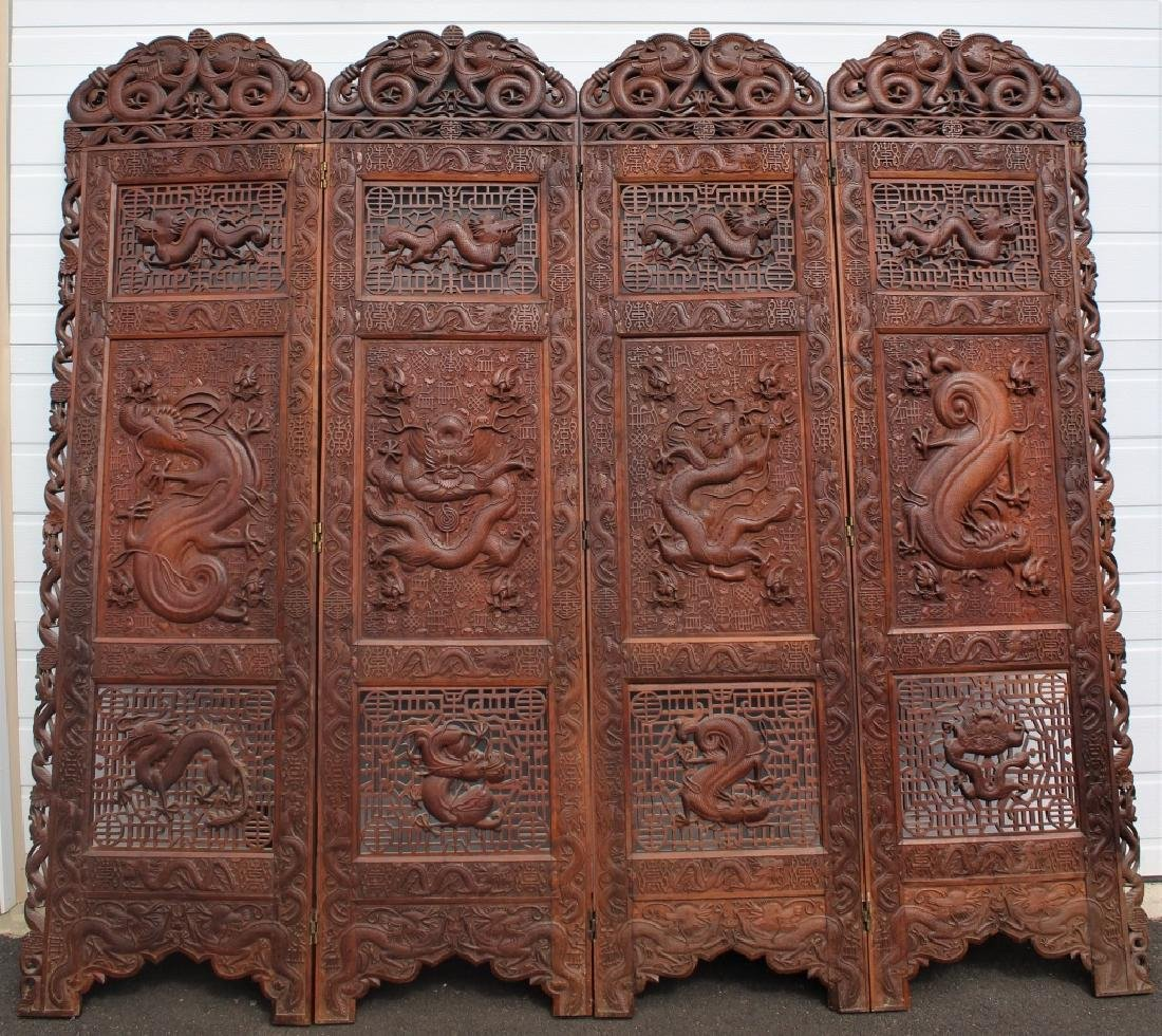 Early 1900 Chinese Wooden Screen - 4