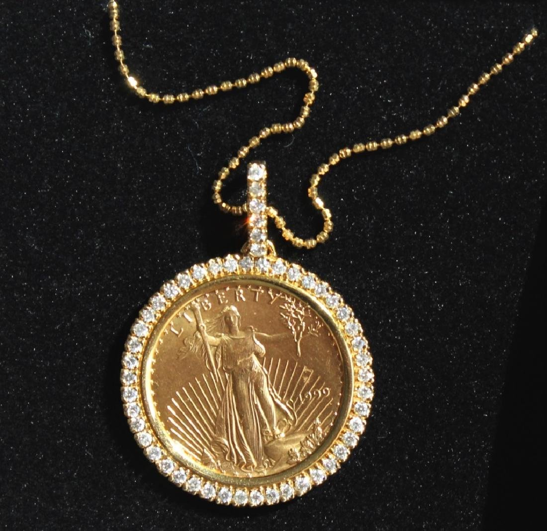 14 Karat Gold $25 Diamond  Pendant and Chain