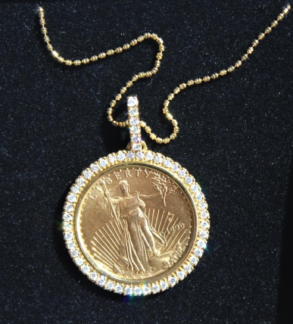 14 Karat Gold $25 Diamond  Pendant and Chain - 2