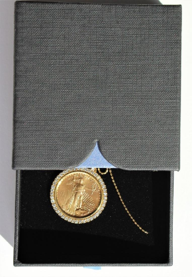 14 Karat Gold $25 Diamond  Pendant and Chain - 4