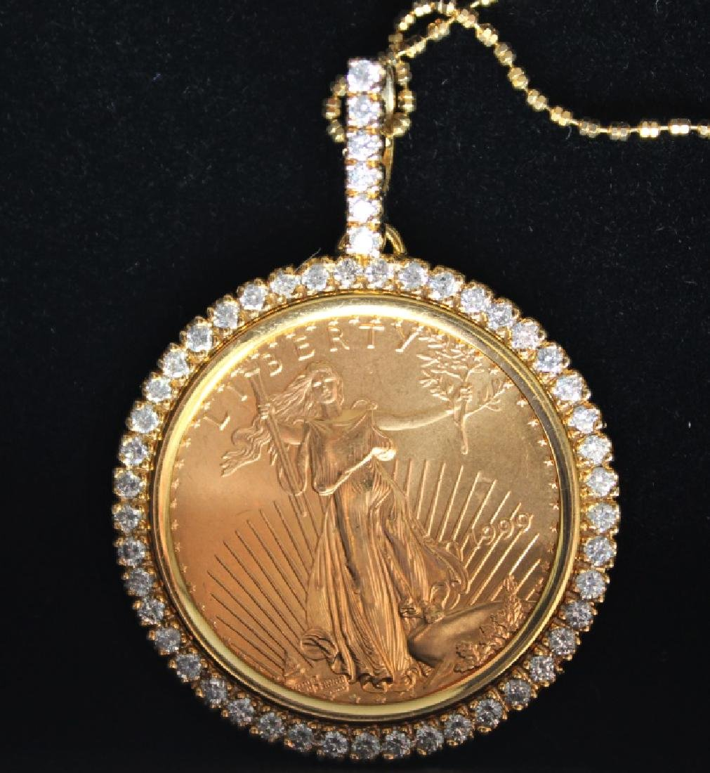 14 Karat Gold $25 Diamond  Pendant and Chain - 5