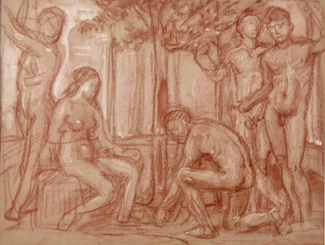 Group study drawing nude