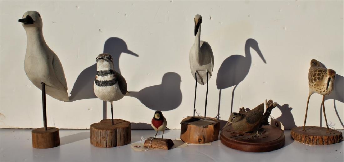 6 wooden birds