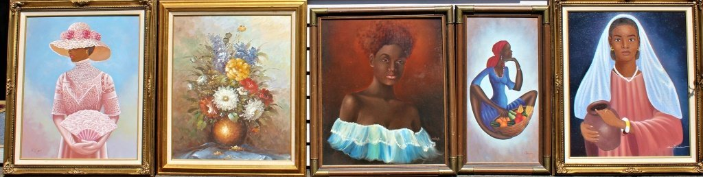 Set of 6 African American lithographs on canvas