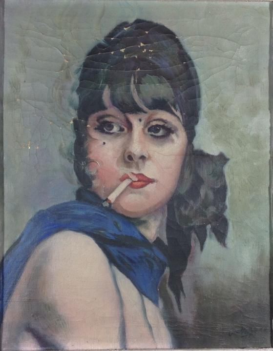 Illegible female portrait with cigarette