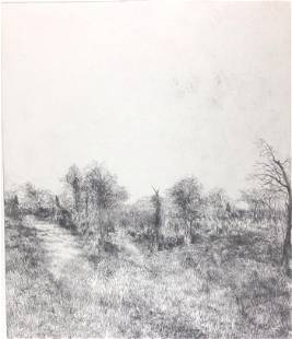 Tom Edwards Etching Winter Landscape