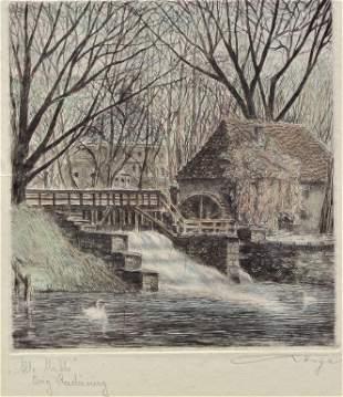 Grist Mill, Etching, illegible,