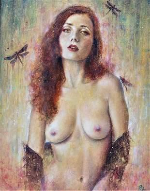 "Female, semi nude model, monogram, ""Fever"" 2016"
