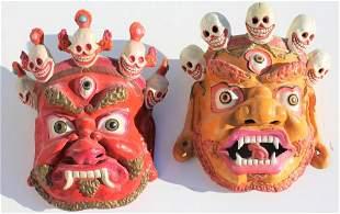 2 Tibetan papier mache Spiritual masks