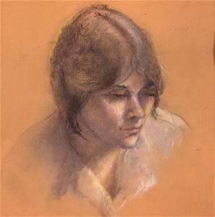Female portrait, pastel